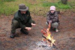 Warming bond fire & sausages