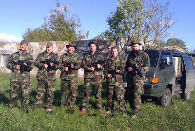 Airsoft combat team ready for action